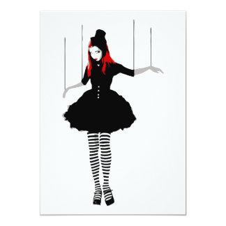 cabaret marionette 13 cm x 18 cm invitation card