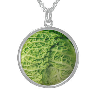 Cabbage Medium Sterling Silver Round Necklace