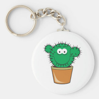 Cactus Smiley Face Basic Round Button Key Ring