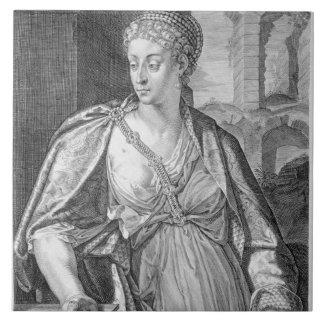 Caesonia wife of Caligula (engraving) Large Square Tile