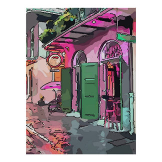 Cafe In Pirates Alley French Quarter New Orleans Poster