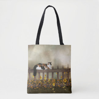 Calico kitty in the garden tote bag