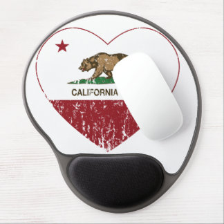 California Born Heart Distressed Gel Mouse Pad