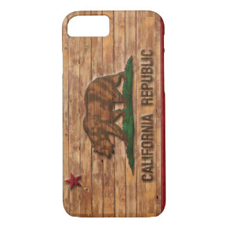 California Republic Flag Vintage Wood Design iPhone 7 Case