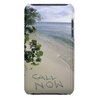 'Call Now' sand written on the beach, Jamaica Barely There iPod Cover