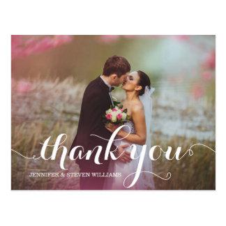 CALLIGRAPHY SCRIPT WEDDING THANK YOU POSTCARDS