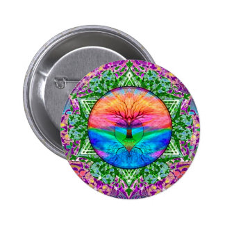 Calming Tree of Life in Rainbow Colors 6 Cm Round Badge