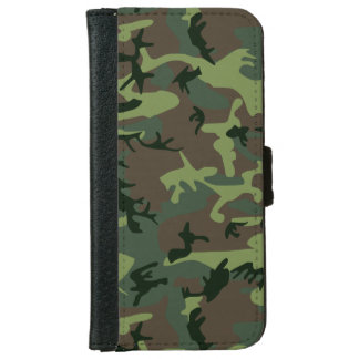 Camouflage Camo Green Brown Pattern iPhone 6 Wallet Case