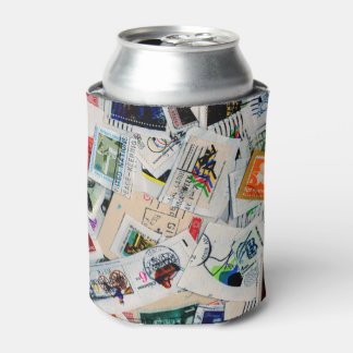 Can Cooler with used Postage Stamp Collage