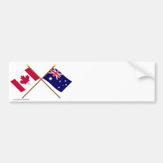 Canada and Australia Crossed Flags Bumper Sticker