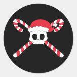 Candy Canes Skull Santa Hat Christmas Round Sticker