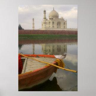 Canoe in water with Taj Mahal, Agra, India Poster