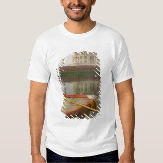 Canoe in water with Taj Mahal, Agra, India Shirts