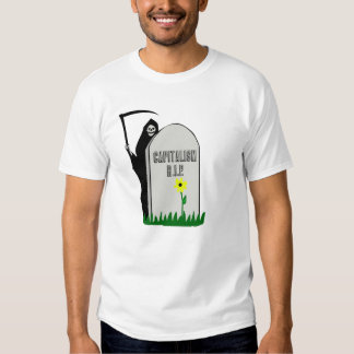 Capitalism R.I.P. Gravestone with Grim Reaper Tee Shirts