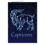 Capricorn Constellation and Zodiac Sign with Stars Note Card