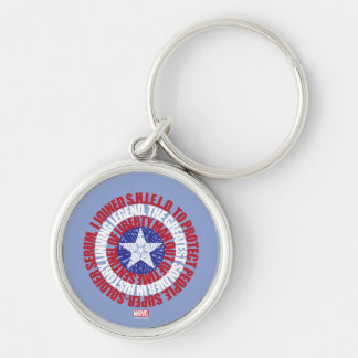 Captain America Alias Typography Shield Silver-Colored Round Key Ring