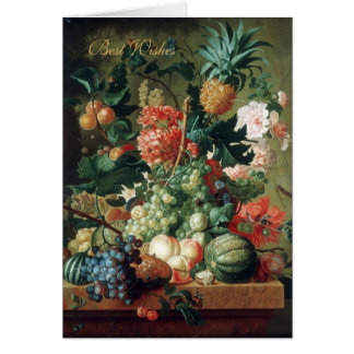 Card Vintage Art Still Life Flowers With Fruit