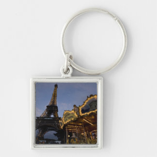 Carousel by the Eiffel Tower in the evening, Silver-Colored Square Key Ring