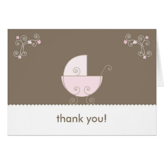 Carriage Baby Shower Thank You - Pink Note Card