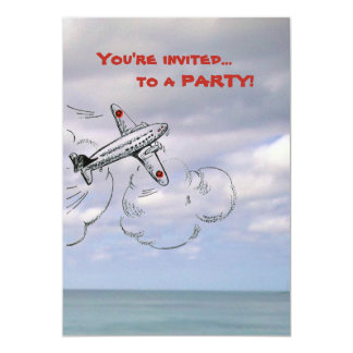 Cartoon Airplane Drawing in the Clouds 13 Cm X 18 Cm Invitation Card
