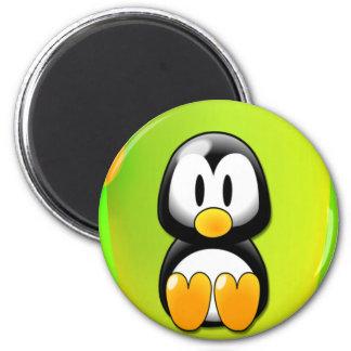 Cartoon Penguin 6 Cm Round Magnet