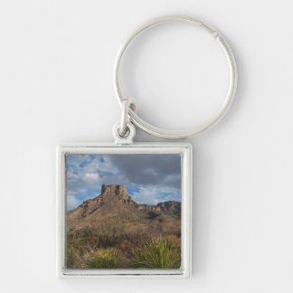 Casa Grande Peak, Chisos Basin, Big Bend Silver-Colored Square Key Ring