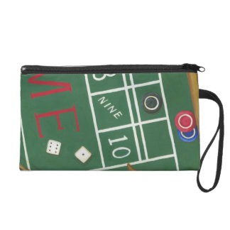 Casino Craps Table with Chips and Dice Wristlet Purse