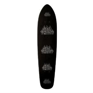 Castle in Black and White. Custom Skate Board
