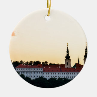 Castle in Prague Round Ceramic Decoration