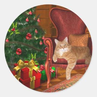 Cat Christmas Round Sticker