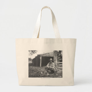 Cat eating out of a coffee can jumbo tote bag