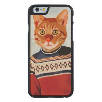Cat in Ski Sweater Carved® Maple iPhone 6 Case