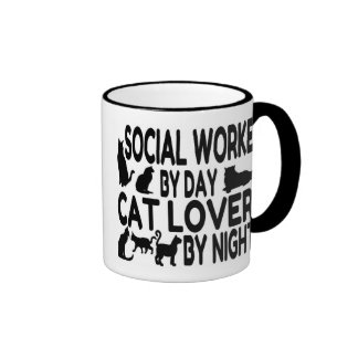Cat Lover Social Worker Ringer Mug