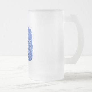 cat mummies blue frosted glass mug