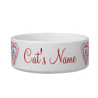 Cat Photo Red Hearts Food Dish Cat Food Bowl