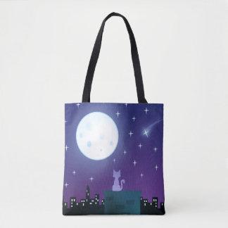 Cat Under The Moonlight Tote Bag