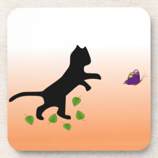 Cat With Butterfly Beverage Coasters