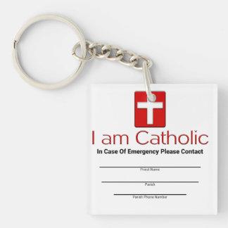 Catholic Emergency Contact Card Double-Sided Square Acrylic Key Ring
