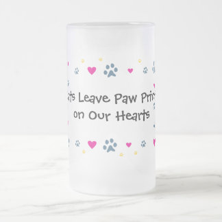 Cats Leave Paw Prints on Our Hearts Frosted Glass Mug