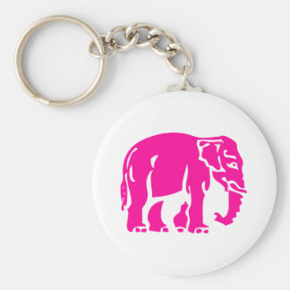 Caution Pink Elephant ⚠ Thai Road Sign ⚠ Basic Round Button Key Ring