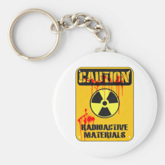Caution Radioactive Material Basic Round Button Key Ring