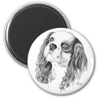 Cavalier King Charles Drawing 6 Cm Round Magnet