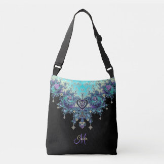 Celtic Heart Fractal Tapestry Monogram Bag Tote Bag