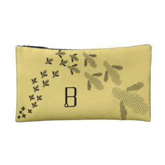 Celtic knot bee monogram clutch makeup bag