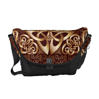 Celtic Knot on a brown background Messenger Bags
