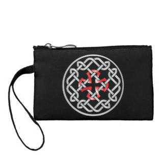 Celtic Knot Red Metallic Clutch Coin Purse
