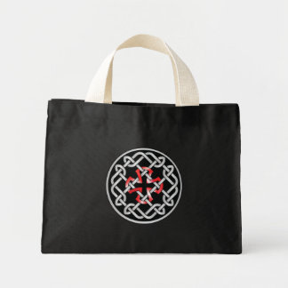 Celtic Knot Red Metallic Tiny Black Tote Mini Tote Bag