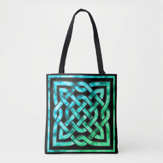 Celtic Knot - Square Border Blue Green Tote Bag