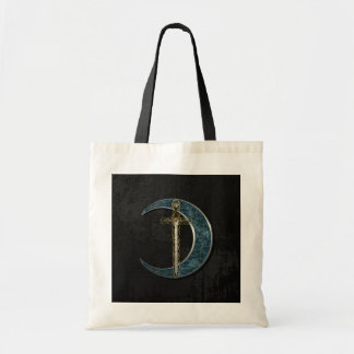 Celtic Sword and Moon with Grunge Wall Budget Tote Bag