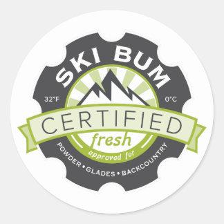 Certified Ski Bum Round Sticker